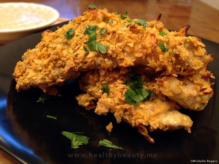 #GlutenFree Crisp Oven Baked Buttermilk Chicken Tenders with Grainy Mustard Dip