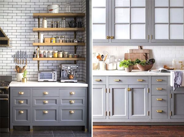 designer look, paint #kitchen cabinets a cool #gray + add #brass pulls
