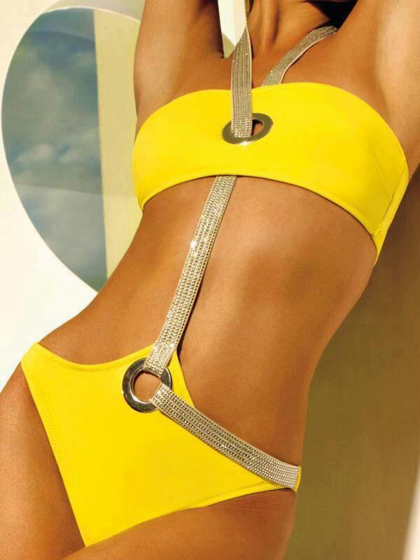 Trikini amarillo con un tirante increible. Yellow  Trikini