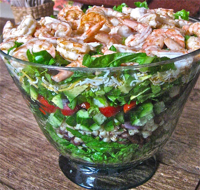 pile of Mexican Shrimp Cobb Salad -- the creamy dressing is made ...