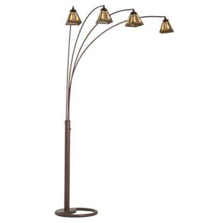 four arm bronze mission tiffany glass arc floor lamp. Black Bedroom Furniture Sets. Home Design Ideas