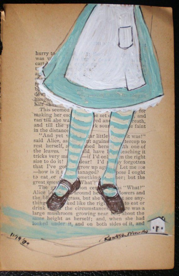 Flying Girl Alices Off, or This Seemed Like A Good Opportunity to Make Her Escape. OOAK original mixed media painting on vintage Alice in Wonderland book page by Rowena Murillo on Etsy.