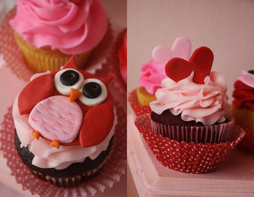 Cute owl cupcakes for Valentine's Day