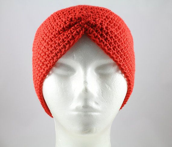 Crocheting Hats For Cancer Patients : Red Turban Hat for Cancer Patients