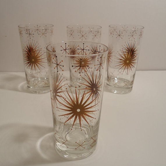 4 atomic starburst snowflake tumblers signed wm a meier mid century modern drinking glasses - Starburst glassware ...