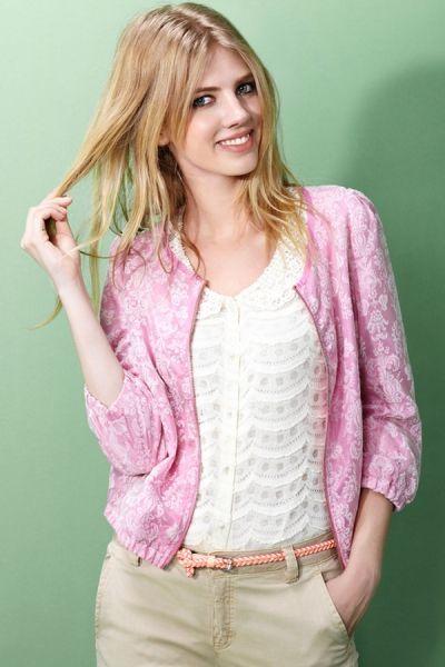 Candy Floral Mesh Overlay Blazer