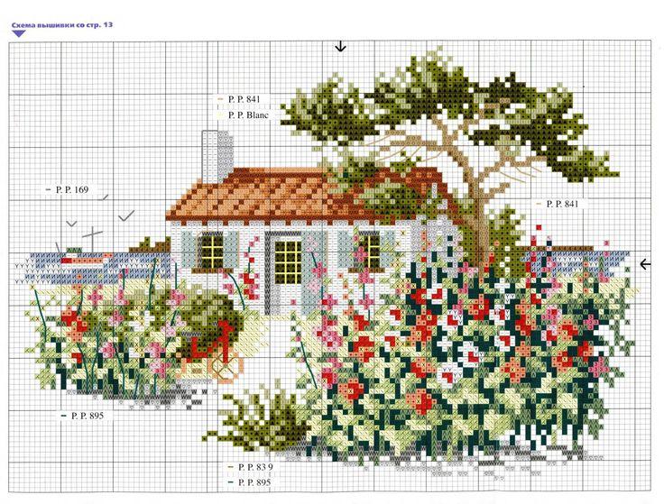 Схемы вышивки цветные домики 66