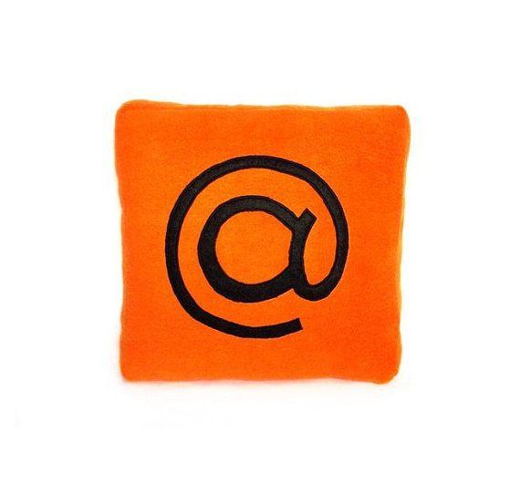 Geekery orange pillow AT SYMBOL pillow mail by PillowsRollanda, $21.00