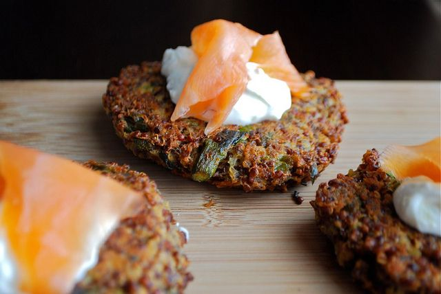 ... Goat Cheese Quinoa Patties with Smoked Salmon and Lemon Yogurt Sauce