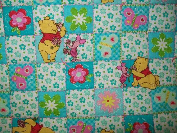 Winnie the Pooh & Piglet, Flowers, Butterflies Baby Blanket. $43.75, via Etsy.