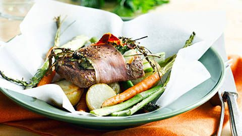 Prosciutto-wrapped lamb with roast vegetables: This is a great twist ...