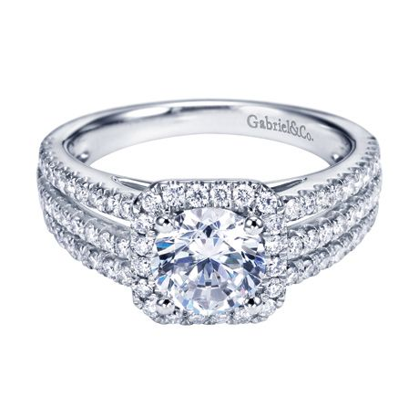 Engagement ring with halo and three rows of side diamonds. GabrielCo ...