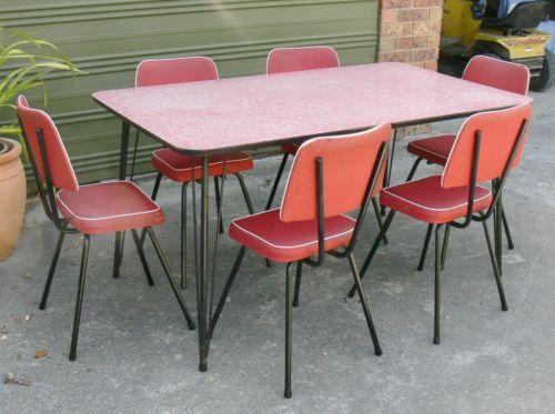 Funky Retro Vintage Kitchen Laminex Table 6 Red Vinyl Chairs Good C