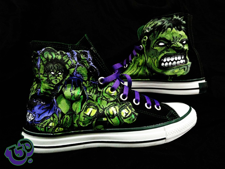 The HULK hanD painted converse !!! Unique one of a kind
