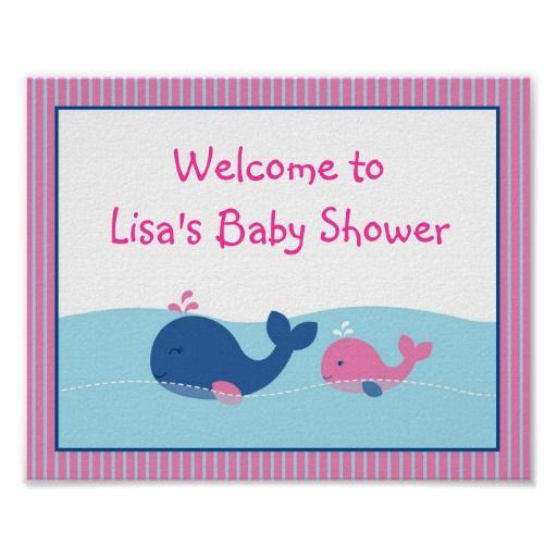 preppy pink whale baby shower welcome sign poster