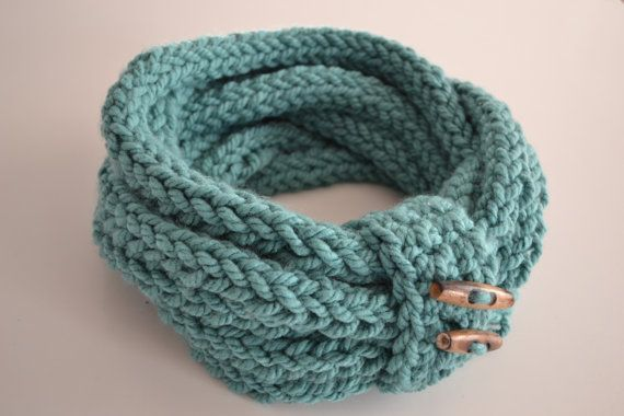 Finger Knitting Scarf : Handmade finger knitted infinity loop scarf
