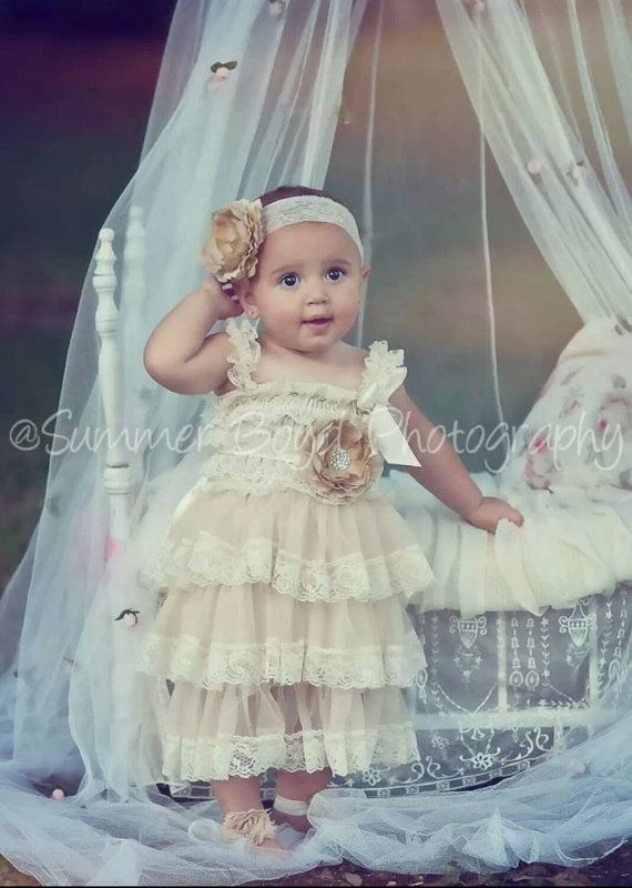Cream Ivory Pink Lace Toddler Baby Dress Flower Girl