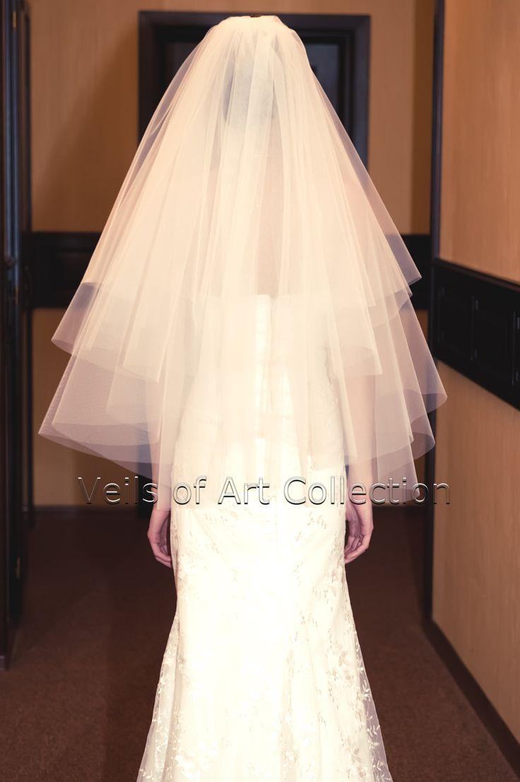"4T Fingertip Bridal Wedding Veil Cut Edge VE200 white ivory NEW  Fingertip Length Bridal Illusion Tulle Veil     Veils of Art Collection Style VE200      4 Tier 24""/28""/3"