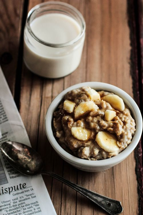 Peanut butter and banana oatmeal. | yummy morning delight | Pinterest