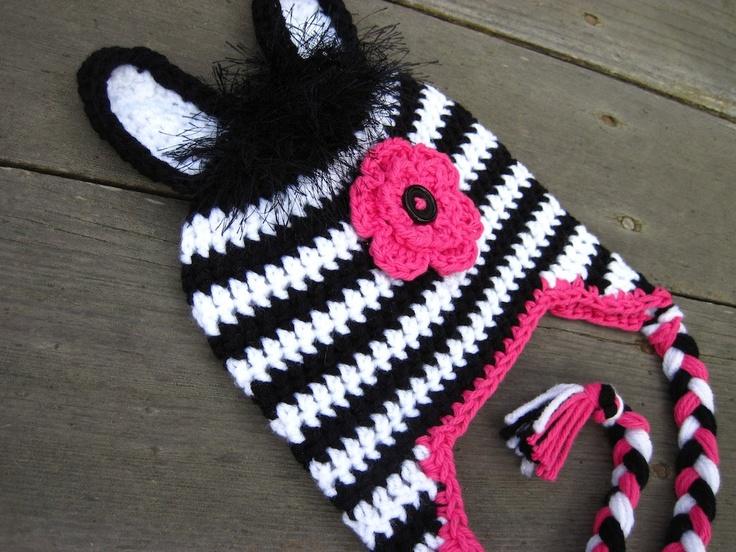 Crochet Pattern Zebra Hat : Pattern Zebra Hat Crochet PDF -beanie, earflap, braids ...