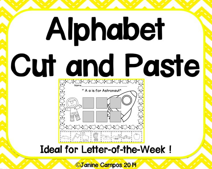 alphabet   beginning sounds   cut and paste pages   26 pages for