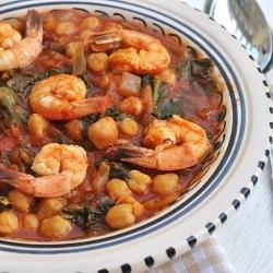 Spicy Prawn Stew - with bacon, chickpeas and spinach