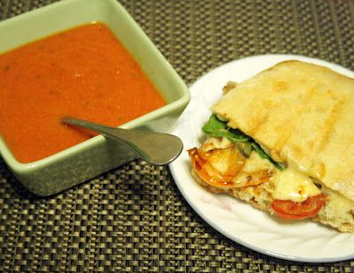 Nordstrom Copycat tomato basil soup and roasted vegetable panini