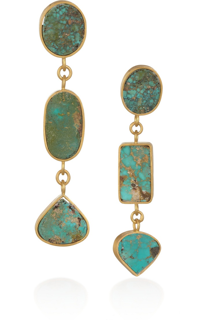 Halleh 18-karat gold geometric Persian turquoise drop earrings