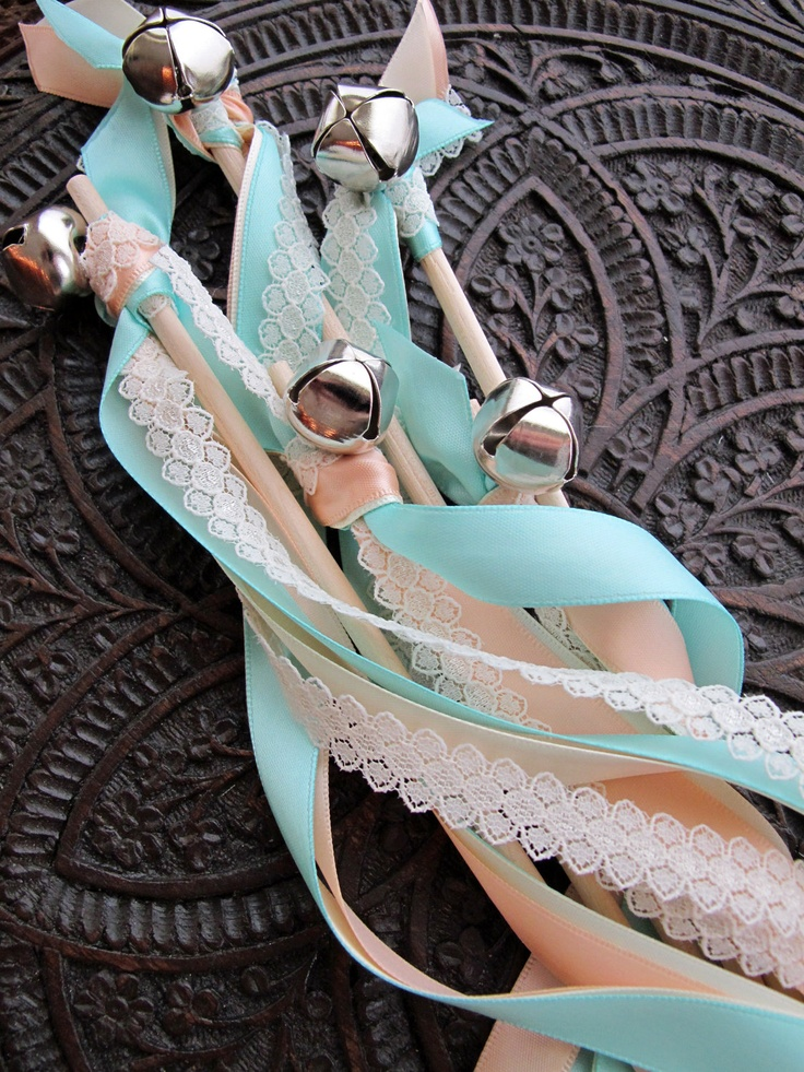 100 Wedding Wands Quadruple Satin Ribbon and Lace With Bell. $140.00 ...