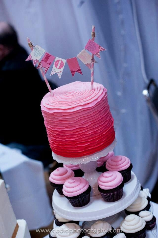 Pink ombre ruffle cake. Cupcake tower