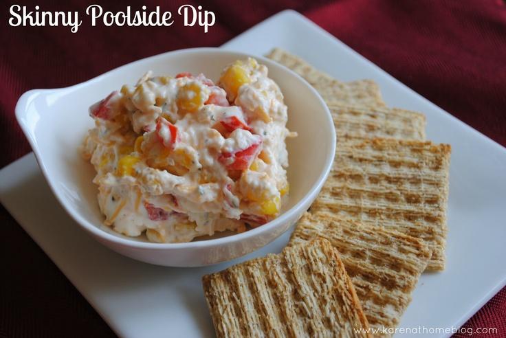 Skinny Poolside Dip: red pepper, jalapeños, corn, diced olives, cream ...