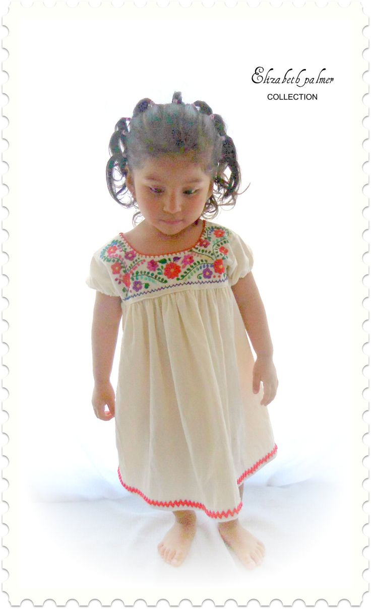 Emily mexican handmade embroidered pure cotton baby dress