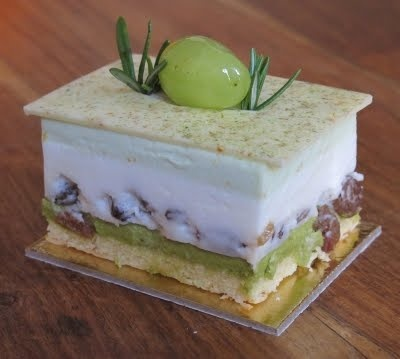 white chocolate, green tea & coconut mousse, pistachio, sultanas ...