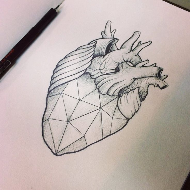 25 Geometric Heart Tattoo Design Ideas For Loving People