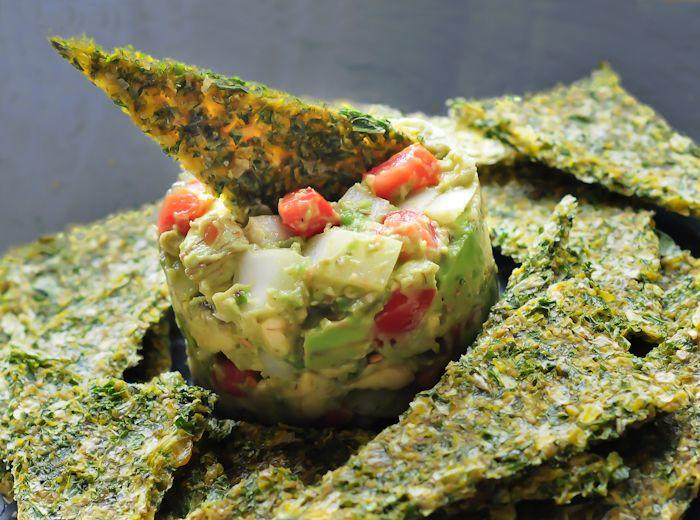 Corn Kale Chips w Chunky Guac