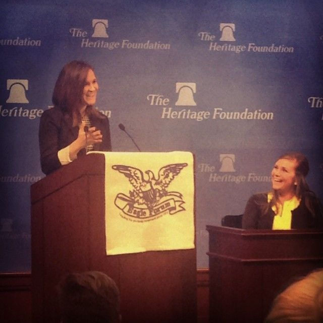 """""""Washington Conservatives"""" Panel at Eagle Forum Collegians Conference 2014. Jackie Anderson, Senior Media Associate at the Heritage Foundation and Glyn Wright, Executive Director of Eagle Forum in Washington, D.C."""