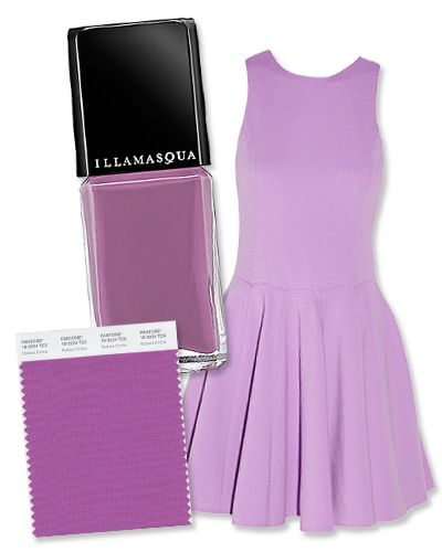 Pantone just announced their top 10 spring 2014 colors, and we're expecting to see all of these hues all over the SS 14 Fashion Week runways!   RADIANT ORCHID Pantone ID: 18-3224  DRESS: Tibi, $475; net-a-porter.com. POLISH: Illamasqua in Velocity, $17; sephora.com.