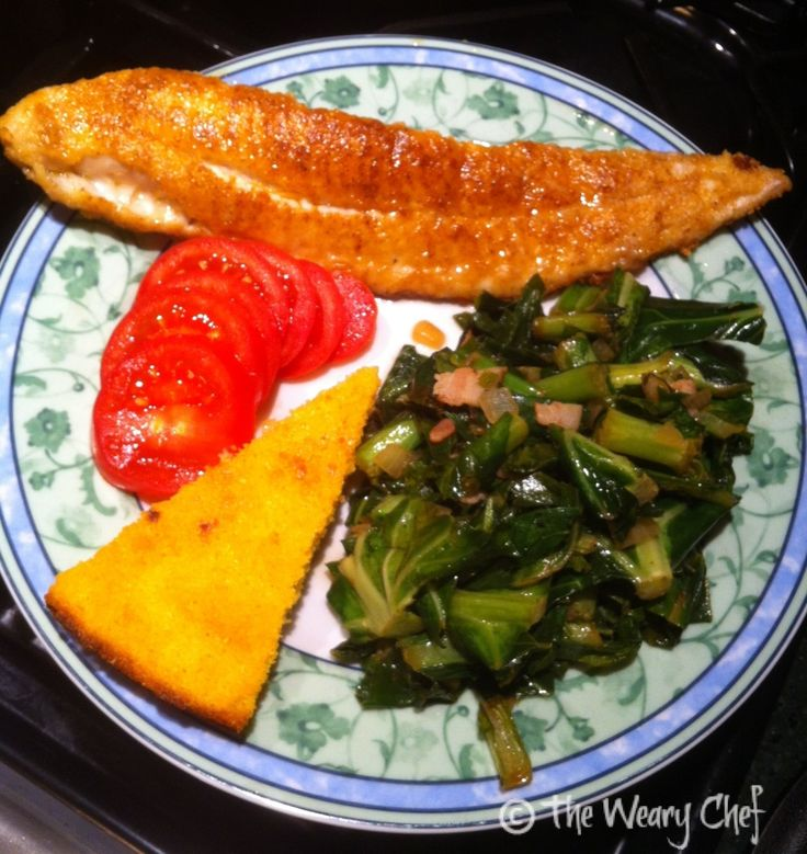 Pan Fried Catfish with Greens and Cornbread - A complete Southern meal ...