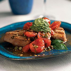 Tuna Recipes | Grilled Tuna with Basil Butter and Fresh Tomato Sauce ...