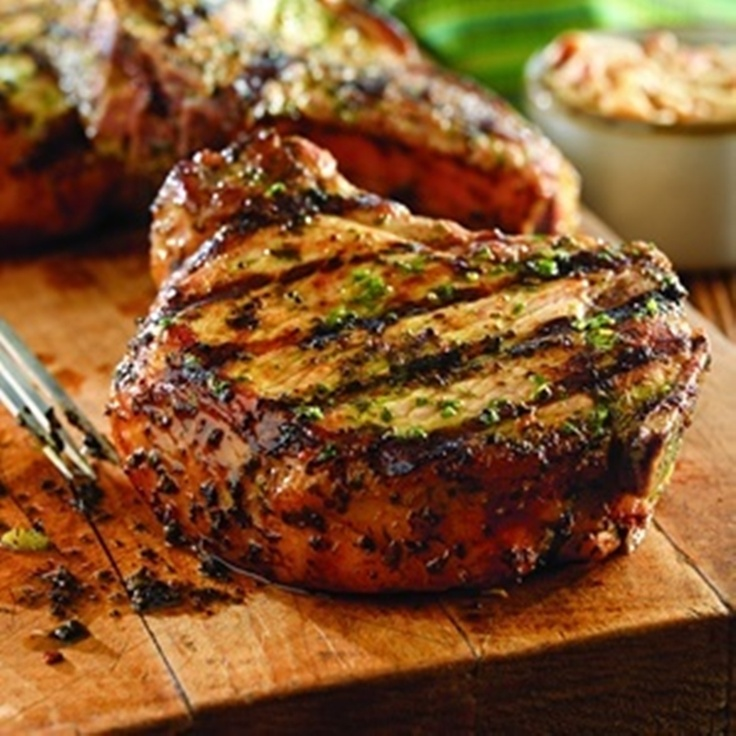 Grilled Pork Chops with Basil-Garlic Rub | Food stuff | Pinterest