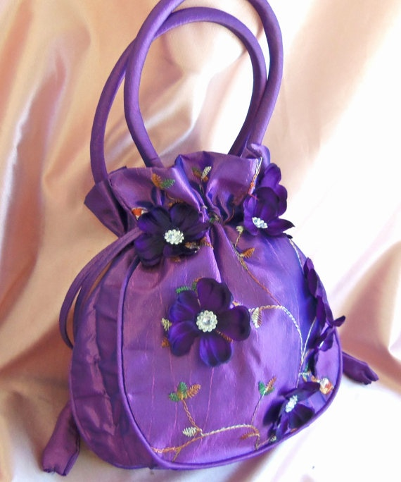 Bridal Drawstring Purse Purple bridal bag Bridal by All4Brides, 35.00