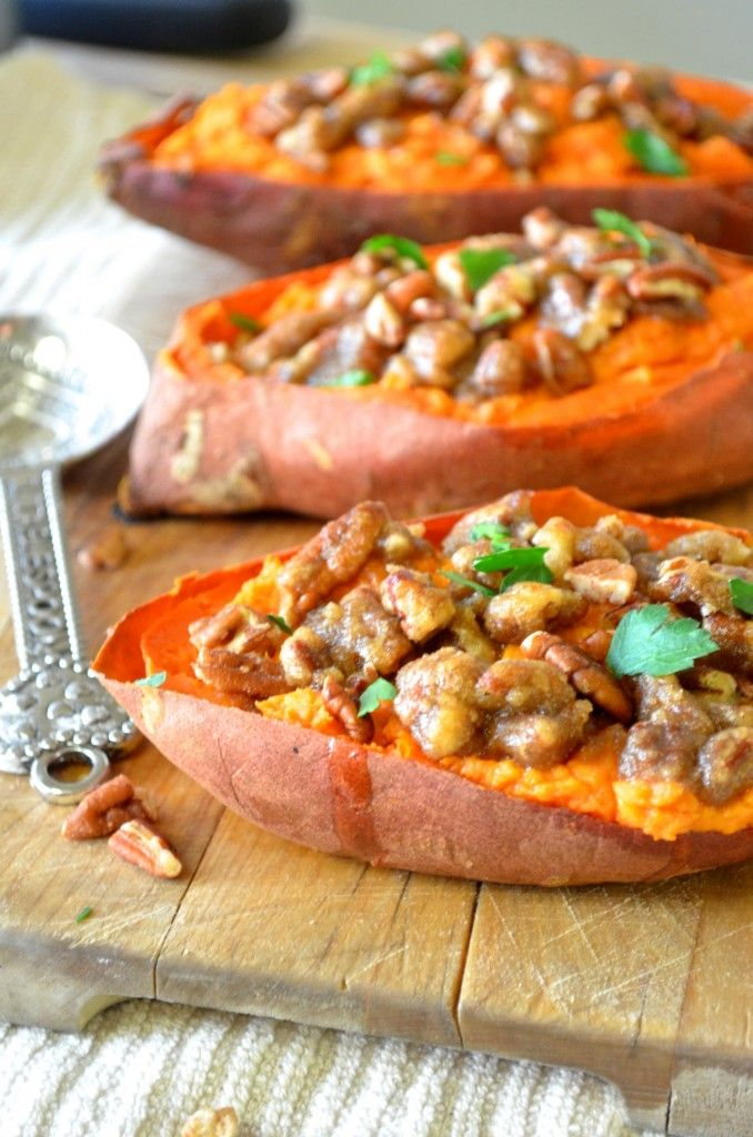 Healthy twice baked goat cheese sweet potatoes with pecan streusel!