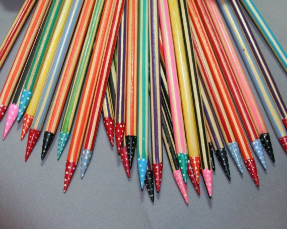 Knitting Needles Novelty : Fun and unique hand painted birch knitting needles
