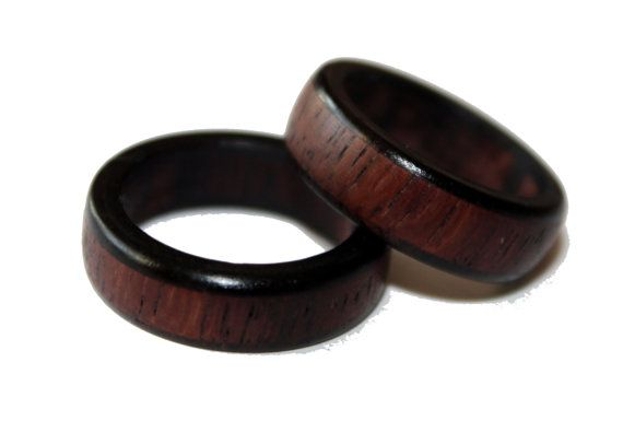 Blackwood and East Indian Rosewood Wooden Wedding Ring