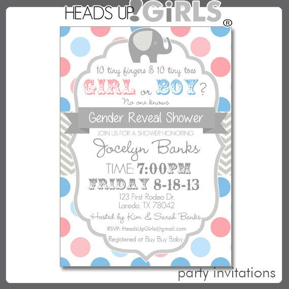 personalized gender reveal elephant baby shower invitations in pink a