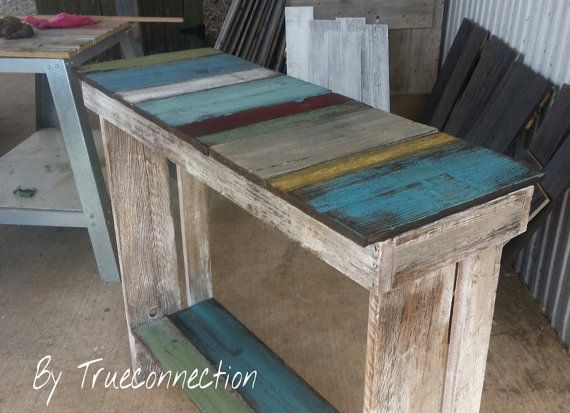 Coffee Bar Sofa Table Console Table Aged Distressed Salvaged Wood ...