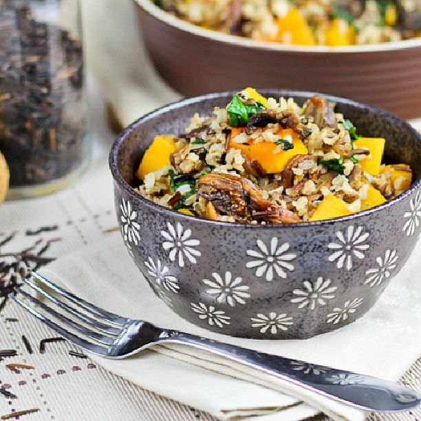Brown & Wild Rice Dish with Butternut Squash, Spinach and Figs