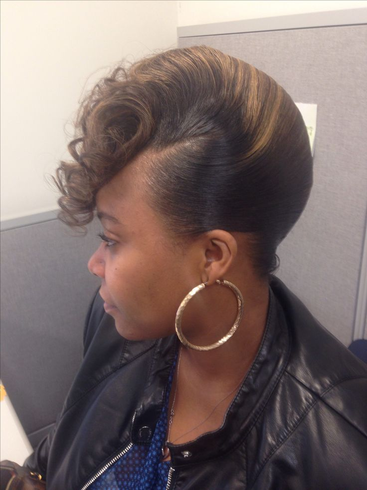 Black Hair French Roll Hairstyle