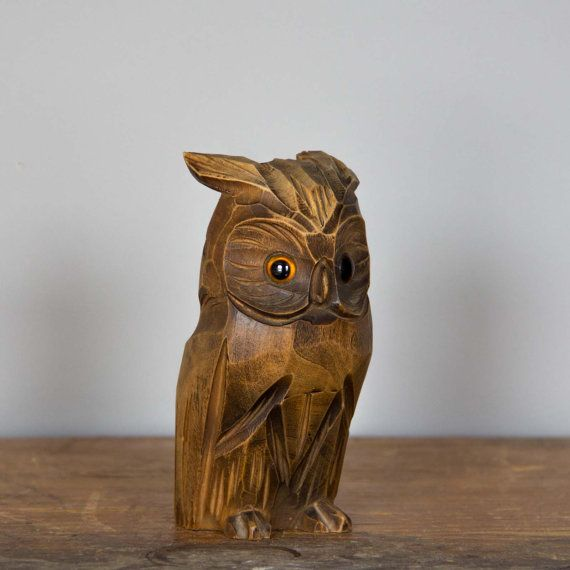 Owl carved wood
