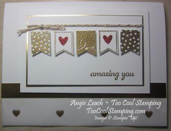 TooCoolStamping.com - Sale-A-Bration Banner Blast set, gold foil, gold fancy foil vellum, gold baker's twine, banner punch